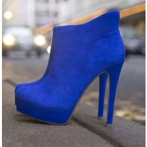 Royal Blue Heels Suede Platform Ankle Booties Stiletto Heels