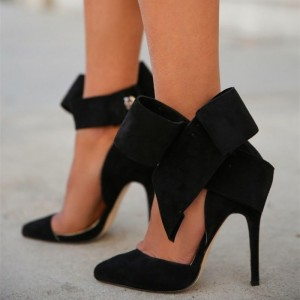 Black Side Bow Heels Closed Toe Stiletto Heel Suede Pumps