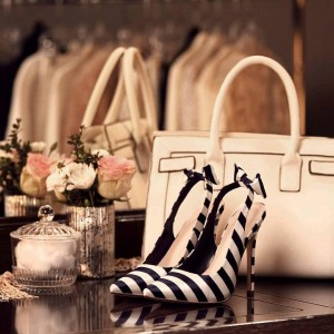 Navy and White Stripes Bow Heels Pointed Toe Slingback Pumps