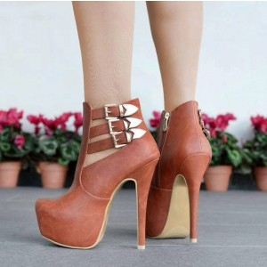 Tan Platform Boots Buckles Women's Ankle Booties Stiletto Heels