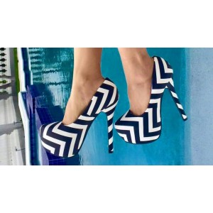 Black and White Heels Stripes Platform Pumps High Heel Shoes