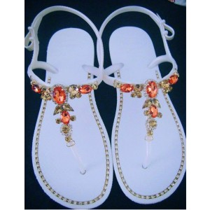 White Jeweled Sandals Summer Flat Rhinestone Beach Sandals