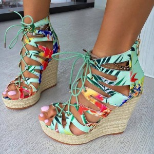 Green Floral Heels Lace up Jungle Wedge Sandals with Platform