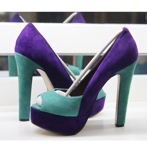 Purple and Turquoise Peep Toe Heels Suede Pumps with Platform