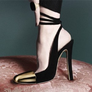 Black and Gold Slingback Pumps Ankle Strappy Chunky Heels