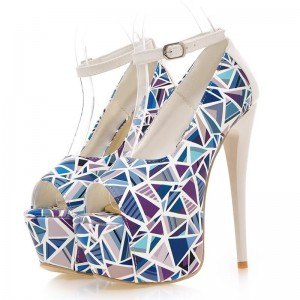 Light Blue Ankle Strap Heels Geometric Peep Toe Platform Pumps