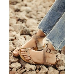 Light Khaki  Buckle Retro Flat Sandals