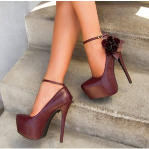 Maroon Ankle Strap Heels Flower Platform Stiletto Heels Pumps