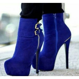 Royal Blue Heels Platform Boots Buckles Stiletto Heels Suede Ankle Booties