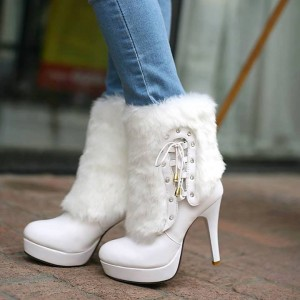 White Platform Heels Fluffy Mid-calf Boots for Cold Weather