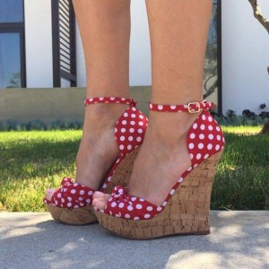 White Polka Dot and Red Ankle Buckle Wedge Heel Sandals