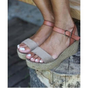 Tan and Grey Vintage Heels Open Toe Sandals Platform Shoes