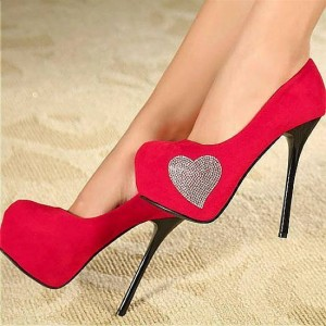 Women's Red Platform Heels Crystal Heart Suede Stiletto Heels Pumps