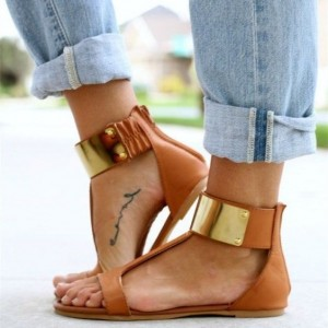 Tan Sandals T Strap Vintage Flats Comfortable Shoes