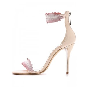 Nude Ankle Strap Sandals Feathers Open Toe Stiletto Heels