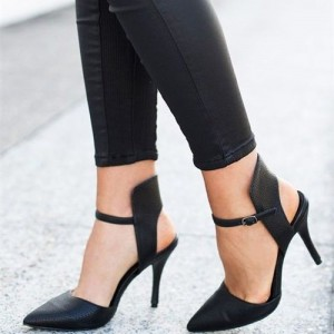 Black Slingback Pumps Pointy Toe Stiletto Heels for Office Ladies