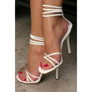 2019 White Strappy Sandals Open Toe Ankle Strap Stiletto Heels Shoes