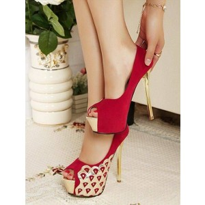 Red and Gold Peep Toe Heels Suede Platform Pumps Stiletto Heels