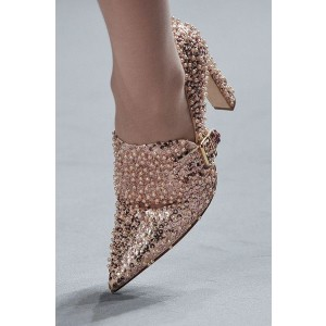Gold Evening Shoes Sequined Pointy Toe Chunky Heel Pumps