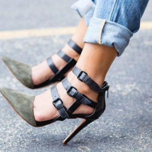 Army Green Stiletto Heels Buckles Suede Closed Toe Sandals