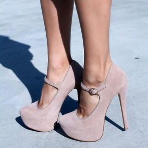 Nude Blush Mary Jane Pumps Closed Toe Suede Platform High Heels Shoes