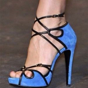Cobalt Blue Shoes Peep Toe Suede Platform Strappy Sandals