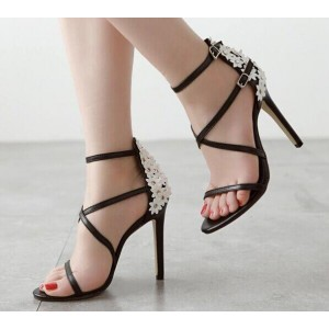 Women's Black Open Toe Buckle Stiletto Heel Ankle Strap Sandals