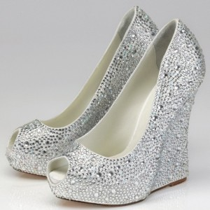 Silver Wedding Heels Rhinestone Peep Toe Wedge Heel Pumps