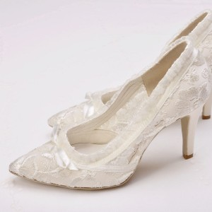 Ivory Lace Bridal Heels Pointy Toe Stiletto Heels with Bow