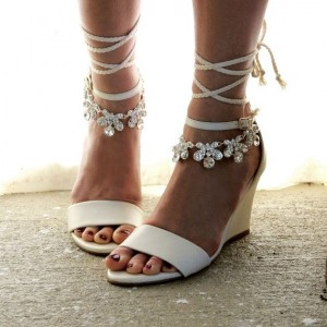 Women's White Bridal Heels Strappy Open Toe Rhinestone Wedge Heels Sandals