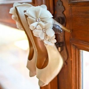 Women's White Peep Toe Floral Rhinestone Stiletto Heel Wedding Pumps