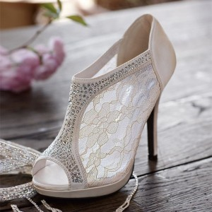 Women's White Wedding Shoes Lace Peep Toe Heels Ankle Summer Boots
