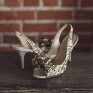 Champagne Wedding Heels Slingback Glitter Sandals for Bridesmaid