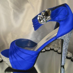 Women's Blue Platform Open Toe Ankle Strap Rhinestone Glitter Stiletto Heel Wedding Shoes Sandals