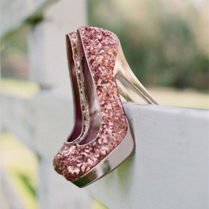 Pink Wedding Shoes Sequined Platform Pumps US Size 3-15