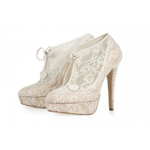 Ivory Wedding Shoes Lace up Platform Lace Ankle Booties for Bridal