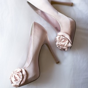 Blush Satin Wedding Heels Peep Toe Bow Heels Stiletto Heel Pumps