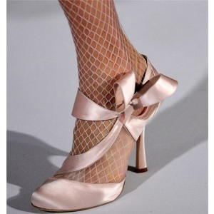 Pink Wedding Heels Round Toe Satin Lace Pumps with Bow