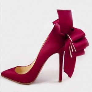 Women's Wine Red Bow Pointed Toe 4 Inch Heels Stiletto Heel Pumps Low-cut Uppper Bridal heels