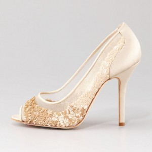 Beige Bridal Shoes Lace Heels Sequined Peep Toe Stiletto Heel Pumps