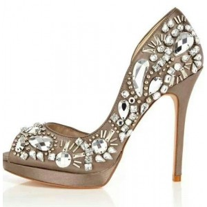 Women's Nude Peep Toe Platform Rhinestone Stiletto Heel Bridal Shoes