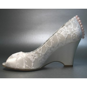 Women's White Peep Toe Lace Pearl Wedge Heel Bridal Shoes