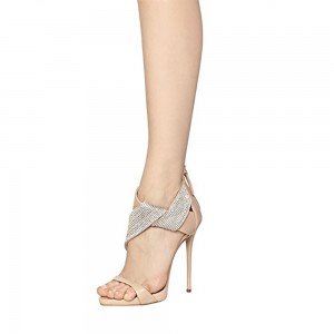Women's Nude Open Toe Stiletto Heel Ankle Strap Sandals Bridal Sandals