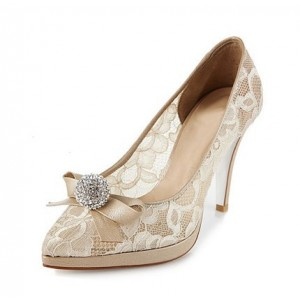 Nude Bridal Shoes Platform Lace Heels with Rhinestone