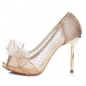 Women's Nude Peep Toe Platform Lace Glitter Flower Stiletto Heel Pumps Bridal Shoes