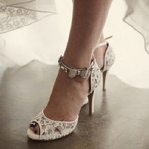 White Bridal Sandals Lace Heels Peep Toe Ankle Strap Wedding Heels