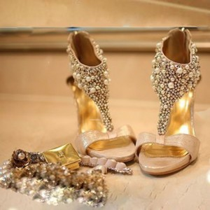 Women's Golden Open Toe T Strap Jeweled Platform Stiletto Heel Bridal Sandals