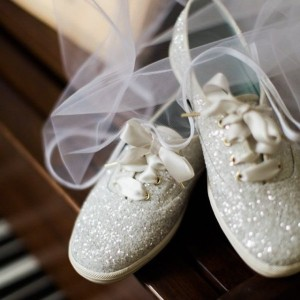 Women's White Glitter Lace Up Sneakers Flats Bridals Shoes