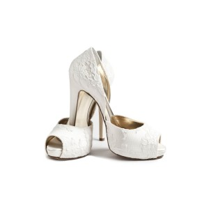 White Bridal Shoes Lace Heels Peep Toe Double D'orsay Pumps