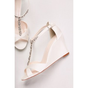 Women's White Peep Toe T Strap Wedge Heel Jeweled Bridal Sandals